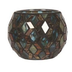 Подсвечник Village Candle Бирюзовая мозаика, 10 см