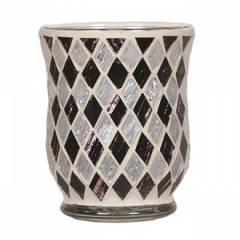 Подсвечник Village Candle Черные и белые бриллианты, 11 см