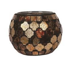 Подсвечник Village Candle Золотая коричневая мозаика, 10 см